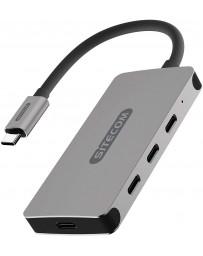 Hub 4 Puertos USB-C Macho a X3 USB-C 3.1 + 1 USB-C Hembra de Carga