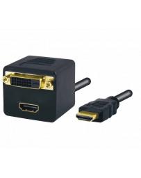 Adaptador HDMI macho a HDMI+DVI-D hembra 20cm