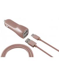 Cargador Coche Micro USB 2.1A Oro Rosa